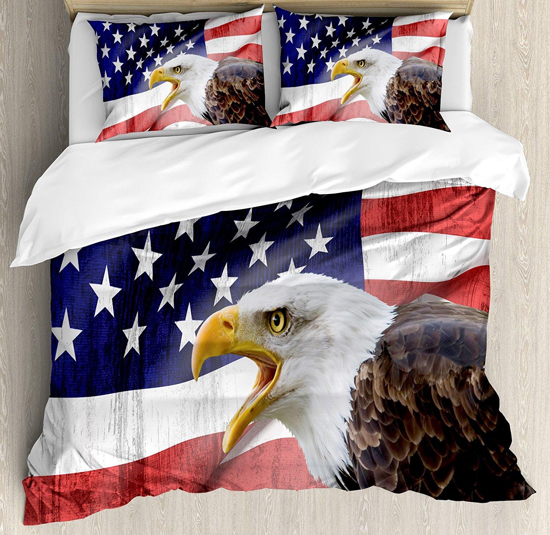 Американский флаг Набор пододеяльников для пуховых одеял комплект Орел на передний план баннер гордость Книги по истории солидарность бое...