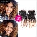 9A Indio Afro rizado rizado trama virginal del pelo con cierre 4x4 ombre trama del pelo humano sin procesar con cierre de tres tonos 1b-30