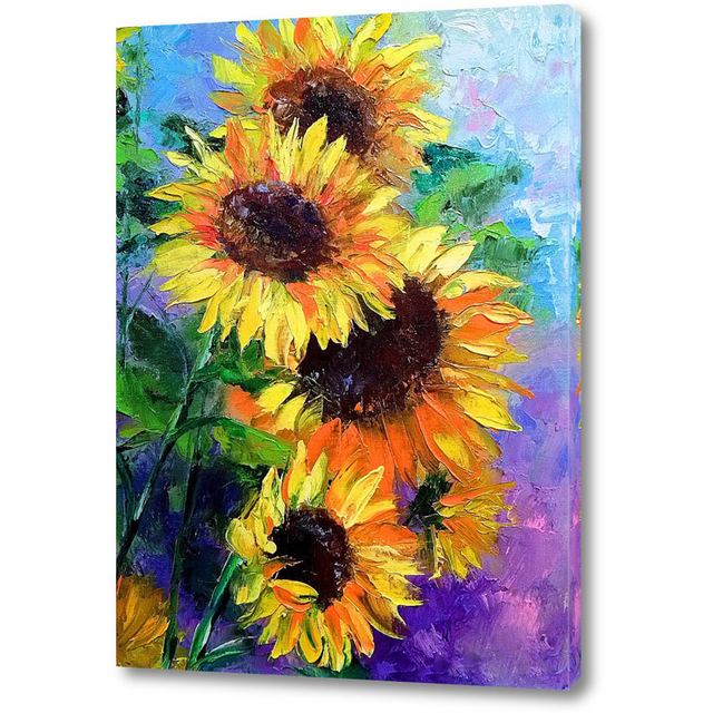 Modern Wall Painting Flower Pictures Hand Painted Sunflower Oil Painting  Canvas Coloring By Numbers Wall Art