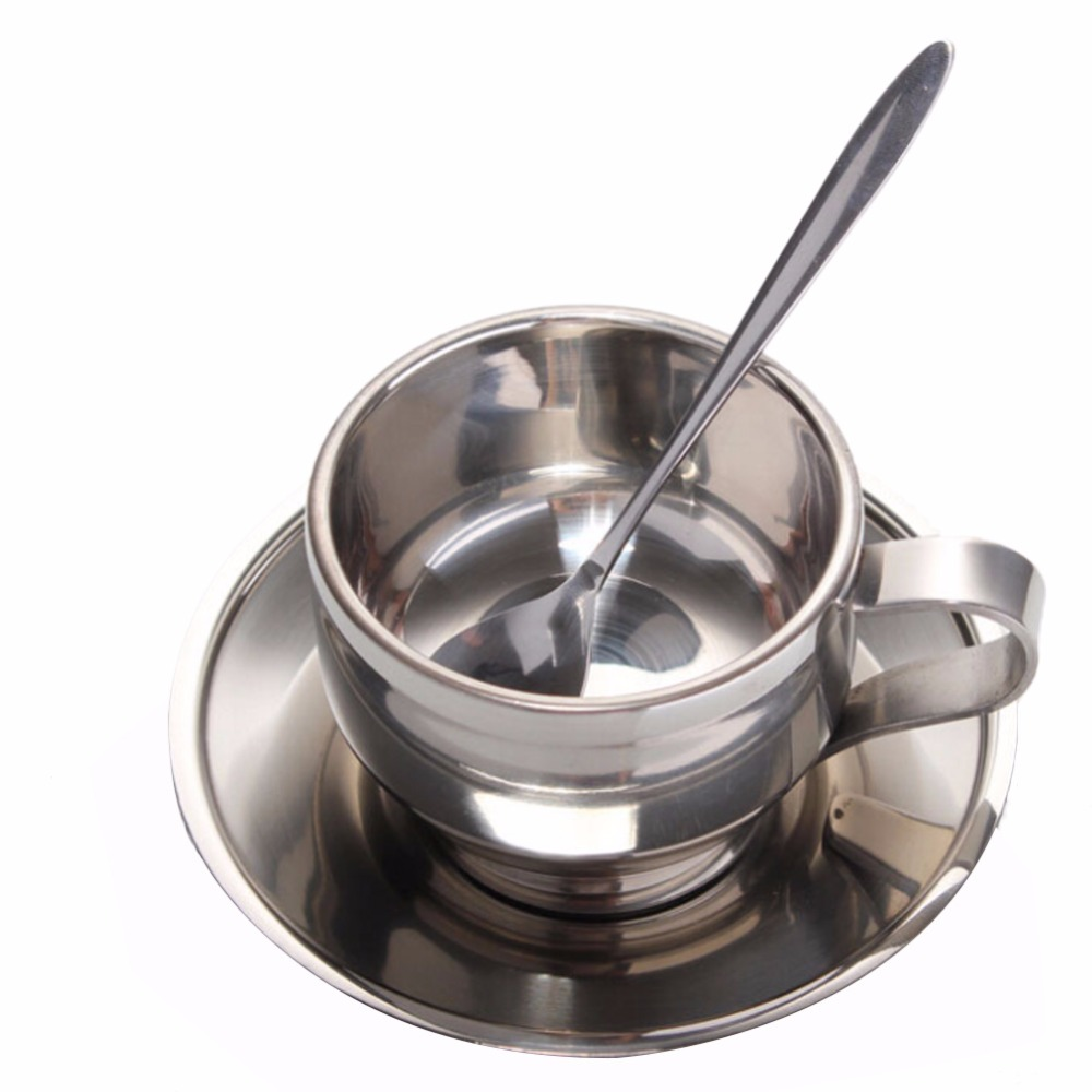 Double wall stainless steel coffee cup set, 1pcs coffee cup   1pcs mat   1pcs mixing spoon BS
