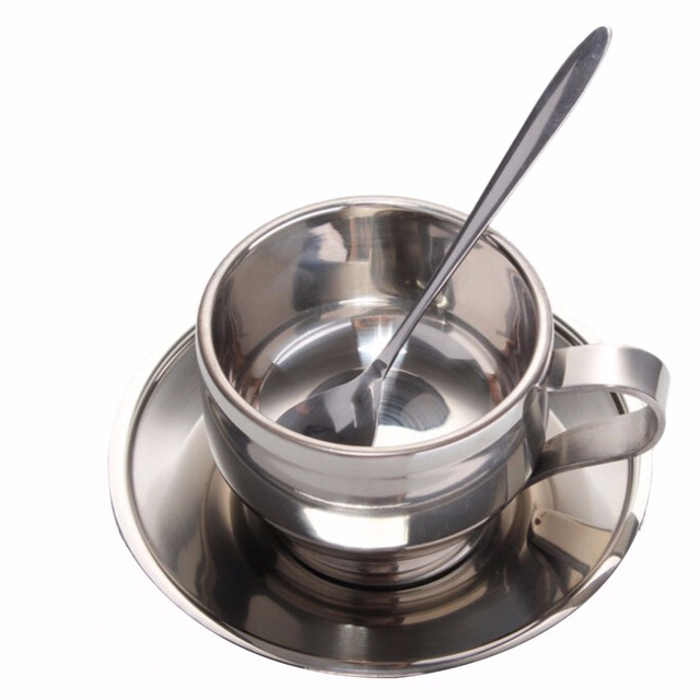 High Quality Coffee Cup Sets Double Wall Stainless Steel Set 1pcs