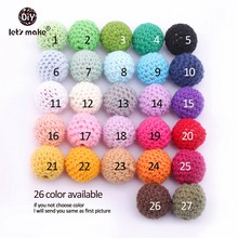 Let's Make Beads Jewellery Chunky Wood Crochet Beads 100 Nursing Toy Teething Crochet Combine Color Wooden Beads With Crochet 20mm
