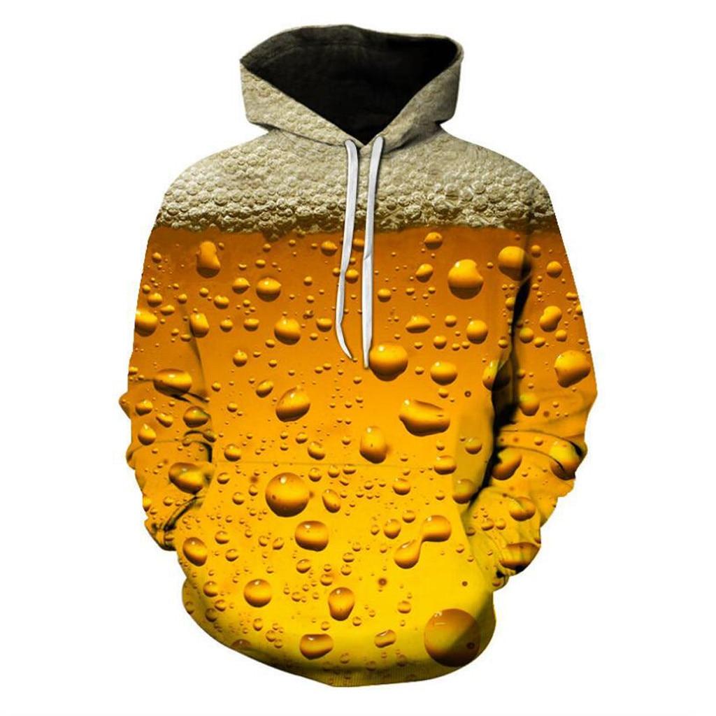 Sanft Chamsgend Herrenmode Bier 3d Drucken Lange Hülse Hoodie Pullover Lose Beiläufige Sweatshirt Ausbildung Warme Sport Mantel Plus Größe Hemden Trainings- & Übungs-sweater