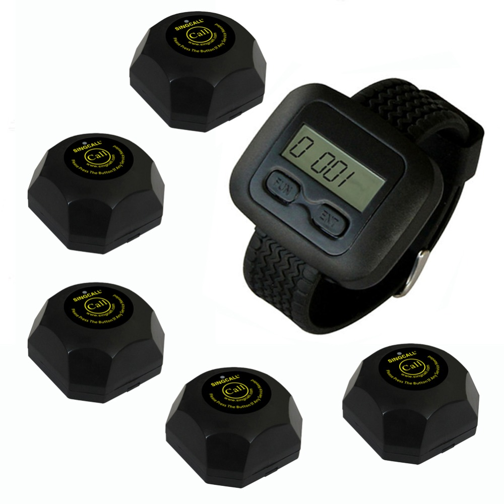 SINGCALL Wireless Waiter Service Calling System,for Bank, Pack of 5 Buttons and 1 pc Watch. For Restaurant/Cafe shop wireless restaurant calling system 5pcs of waiter wrist watch pager w 20pcs of table buzzer for service