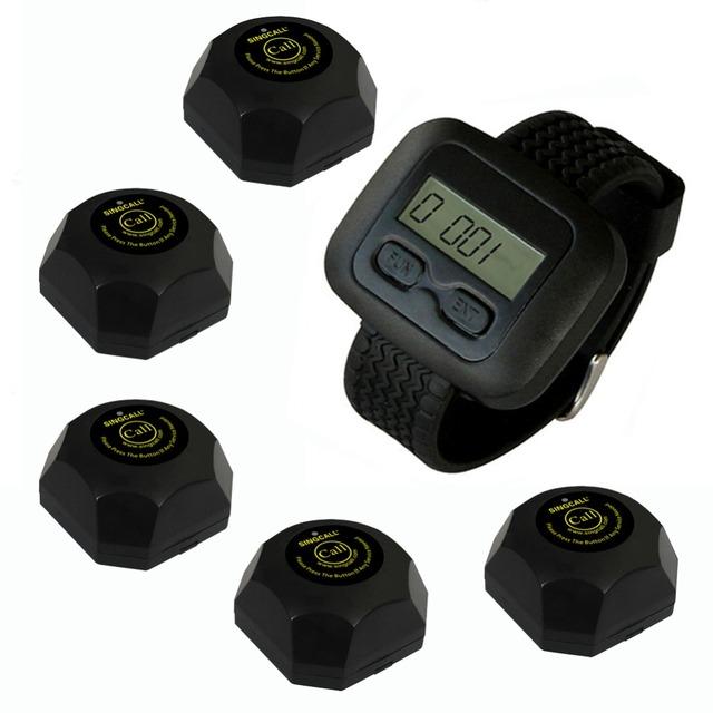 Singcall sem fio garçom sistema de chamada de serviço, para o banco, pacote de 5 Botões e 1 pc Relógio. para o Restaurante/Café loja