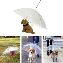 Transparent Pet Portable Built-in Leash Puppy Umbrella Cat Raincoat For Outdoor  Raining Snowing