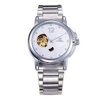 2019 Homens Assistir OUYAWEI SkeletonFashion Casual Relógio de Aço Inoxidável Relógio de Pulso Mecânico Automático Relogio de Luxo
