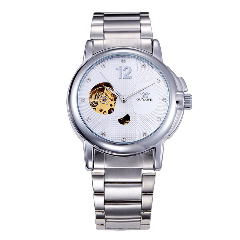 2019 Men Watch OUYAWEI Mechanical Wristwatches Automatic SkeletonFashion Casual Stainless Steel Relogio  Luxury