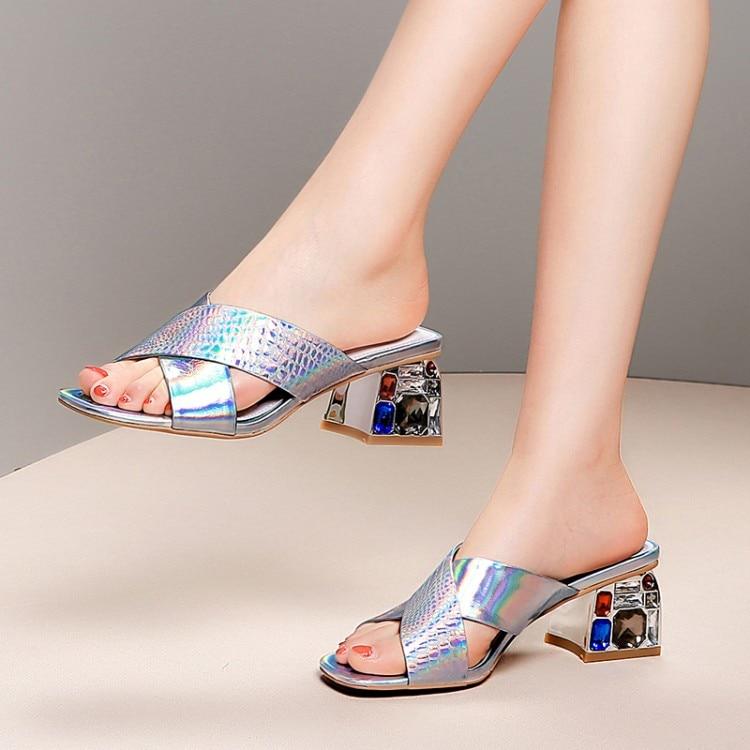 Boda 2019 Las Vestido Moda Peep Fiesta Cuadrado Alta Nuevas Mujer Zapatillas Mujeres Toe Verano Zapatos Diapositivas Silver De Sexy Calzado Tacones SZxSwdq1r