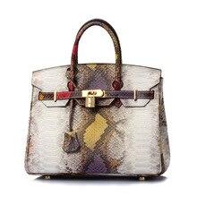 2017 Nouvelles femmes en cuir véritable sacs à main mode peau de serpent imprimer sacs à bandoulière élégant lady chaîne sac top qualité messenger sacs