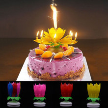 1PC New Hot Sale Novelty Candle Cake Topper Birthday Lotus Flower Decoration Rotating Double Layer
