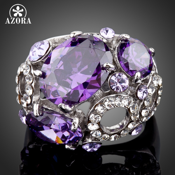 AZORA White Gold Colour Purple Stellux Austrian Crystal Water Drop Ring TR0074