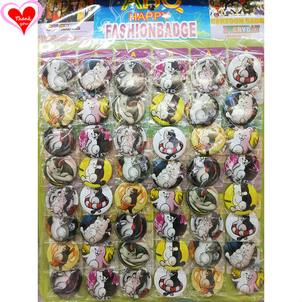 Gracias por el amor Danganronpa monokuma 45 mm 16/24/32/40/48 pcs lote PIN ATRÁS PINADO BOTÓN BROCHE para BAG REGALO TOY CLOTH ANIMAL