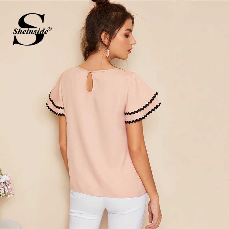 Sheinside Повседневное слоистых рукавом Блузка Для женщин 2019 Лето Контрастность волна отделкой короткий рукав блузки женские розовые минималистичный Топ