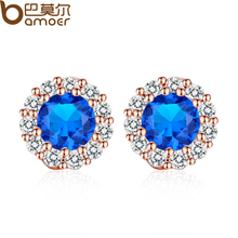 BAMOER Trendy Gold Color Blue Crystals Surrounded Women Stud Earrings with AAA Zircon Earrings Jewelry Gift