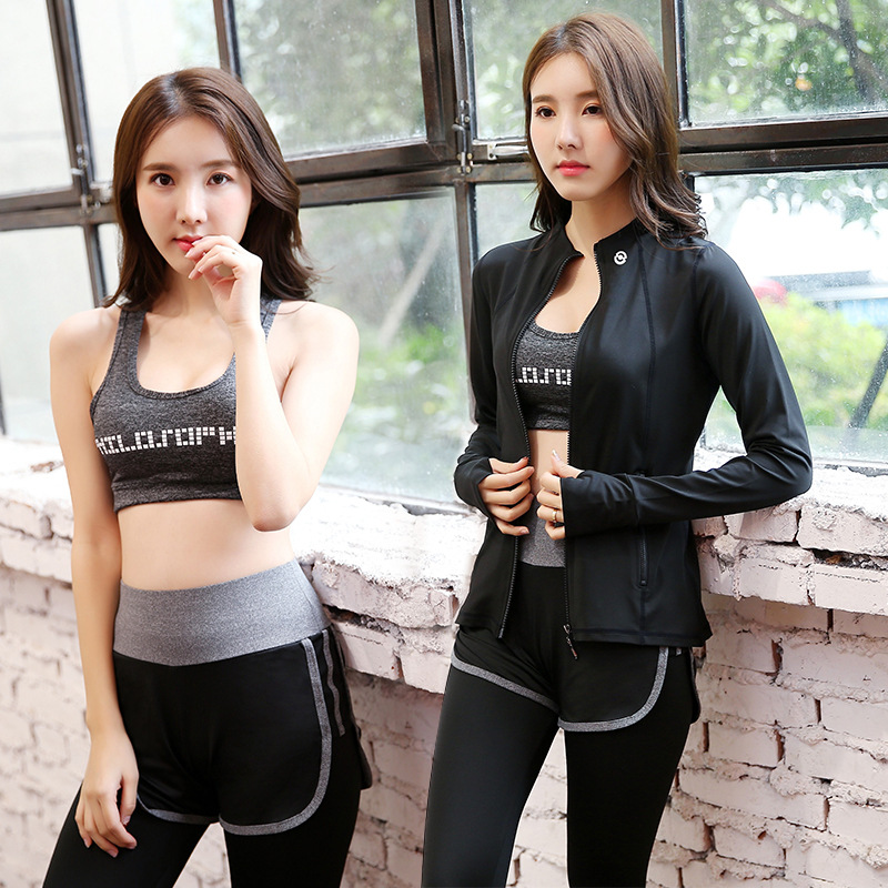 цена на News 3 in 1 Running Yoga Suit Sport Jacket+Bra+Pants Female Breathable Gym Jogging Sport Set Summer Quick Dry Girls Yoga Suits