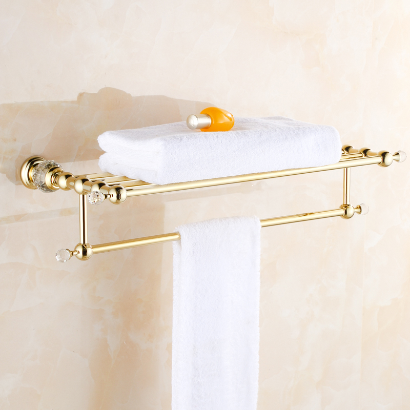 High Quality European Style Solid Brass Luxury Gold Plated Crystal Bath Towel Holder Bathroom