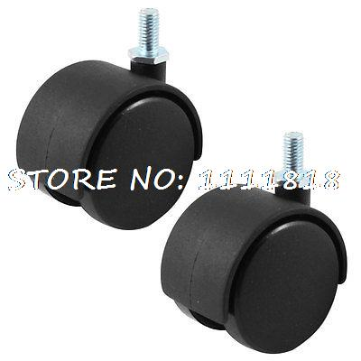 50mm Dia Dual Wheel Office Chair Cart Trolley Swivel Caster Black 2 Pcs fslh 10mm threaded stem 2 inch dia wheel chair swivel caster 5 pcs black