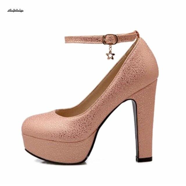 d02be7c5be6 Casamento Stiletto Feminino 12 cm salto Grosso sapatos único das mulheres  personalizar princesa Pequenos Estaleiros