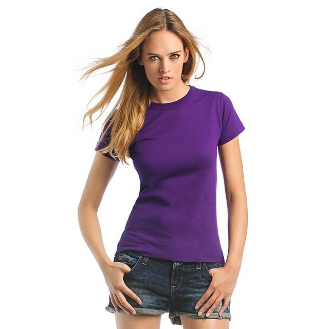 86b01161c1ccfe 2018 Fashion Ladies T-shirt Plain Cotton Short Sleeve Tops Purple Solid  Color Women T