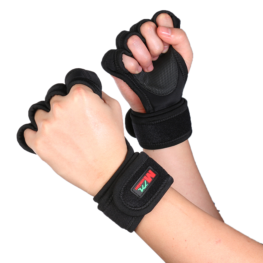 MUMIAN 1 Pair Half Finger Weight Lifting Gloves Brace Support Training Fingerless Wrist Support Fitness Cycling Black Gloves