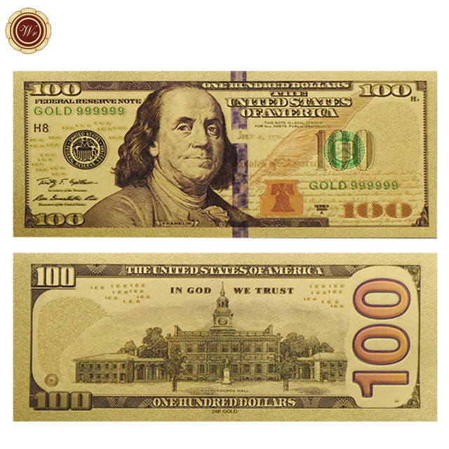 Wr American Decorative Gold Banknote New Usd 100 Home Fake Paper Money Collectible Plated