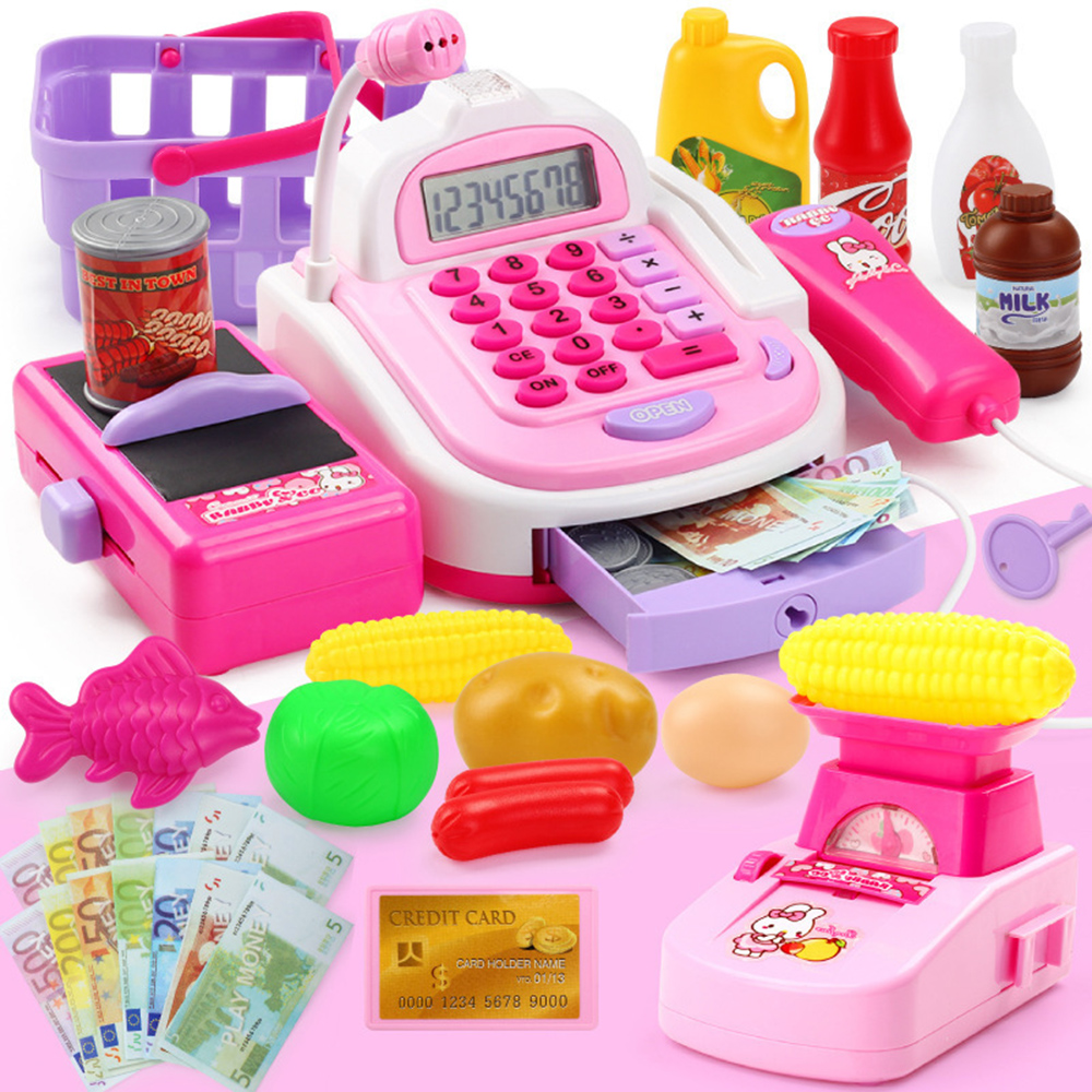 Kids Supermarket Cash Register Electronic Toys with Foods Basket Money Children Learning Education Pretend Play Set
