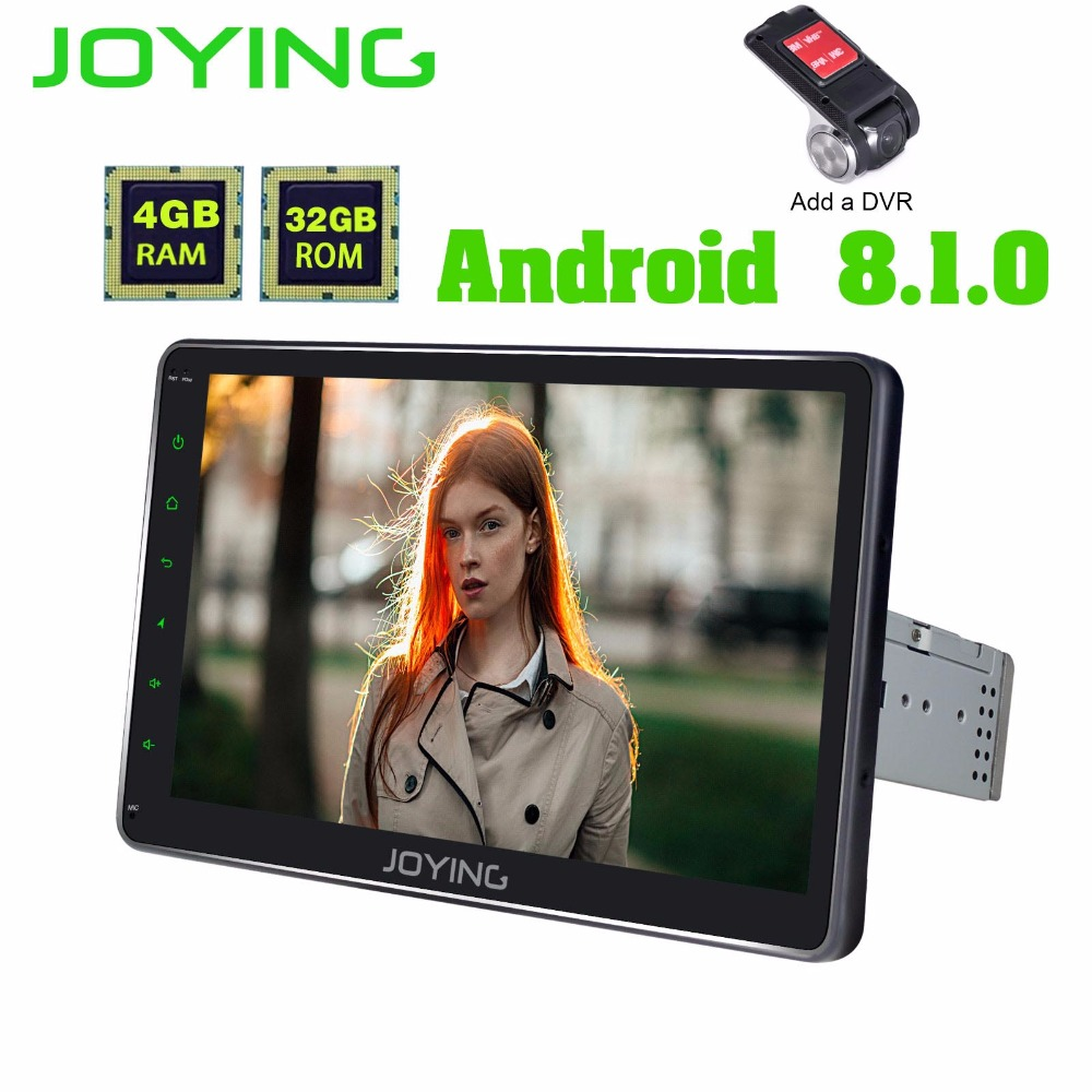 JOYING single din car radio Android 8.1 4GB+32GB 1024*600 Octa Core car multimedia GPS DSP Fast Boot Split Screen SWC free DVR