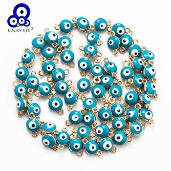 Ojo de la suerte-abalorios de ojo malvado de colores, conector para pulsera, collar, colgante, accesorios de joyería, 20 Uds., EY6089