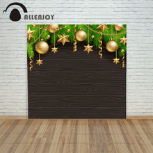 backdrop christmas backgrounds new year noel Ball Wooden board golden leaves xmas photocall camera prop photo shoots