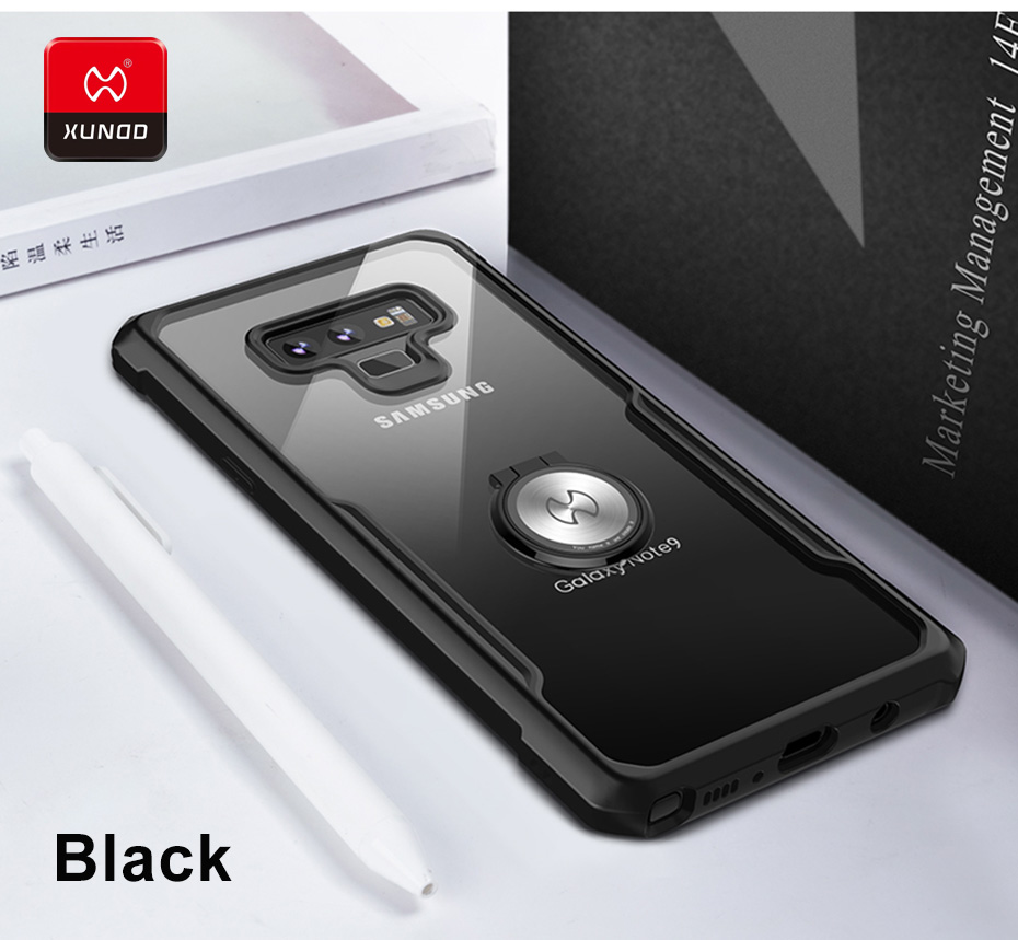 Luxury Soft Silicone Shockproof Case For Samsung Galaxy Note9 Phone Finger Ring Cover Full Protective Cases Magnetic car holder in Fitted Cases from Cellphones Telecommunications