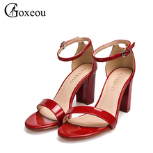 Фотография Brand Womens shoes Square Heel 6CM High heels Ankle Strap Sandals Patent Leather Ankle Strap 2017 Pumps Office Party Night-Club