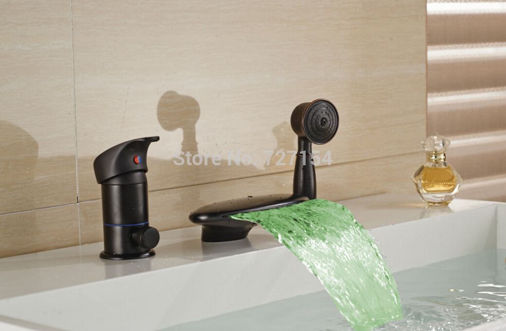 Waterfall LED Bathtub Faucet Oil Rubbed Bronze Shower Mixer Single Handle Shower