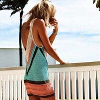 2018 New Sexy Beach Cover Up Bikini Crochet Knitted Swimwear Summer Beach Wear Hollow Out Swimsuit Cover Up Beach Dresses 1