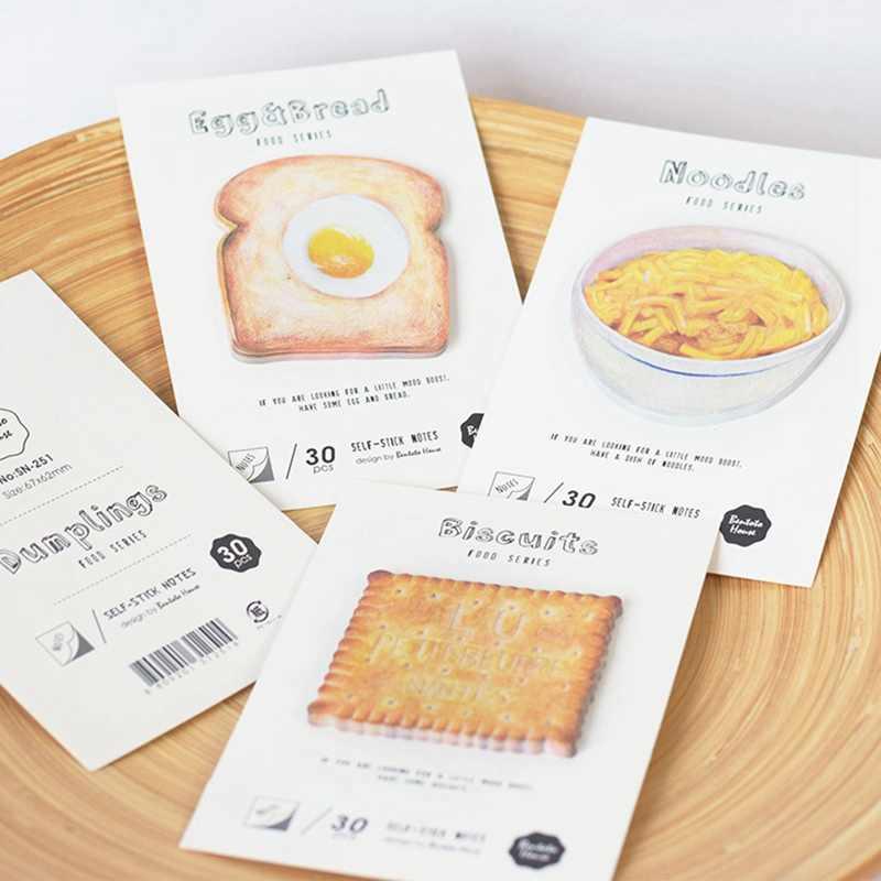 30 hojas/paquete lindo imitación comida notas adhesivas pan pegatinas geométricas planificador Bloc de notas libros suministros escolares