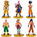6 unids/lote Tenshinhan Dragonball Dragon Ball Z Goku Acción PVC Figuras de Anime Dragon Ball Figura Colección Modelo de Juguete Con Base