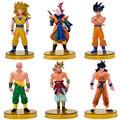 6pcs/lot Dragon Ball Z Son Goku Tenshinhan Dragonball PVC Action Figures Anime Dragon Ball Figure Collection Model Toy With Base