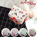 2016 New Fashional Style Women's Money Clip High Quality PU leather Small Cherry Women Wallet Cute Mini Wallets For Girls