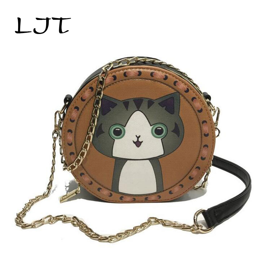 Ljt Chic цепь сумка через плечо Для женщин 2018 новый мультфильм сумки Корейский простой минималистский сумка Anti-Theft круглая сумка