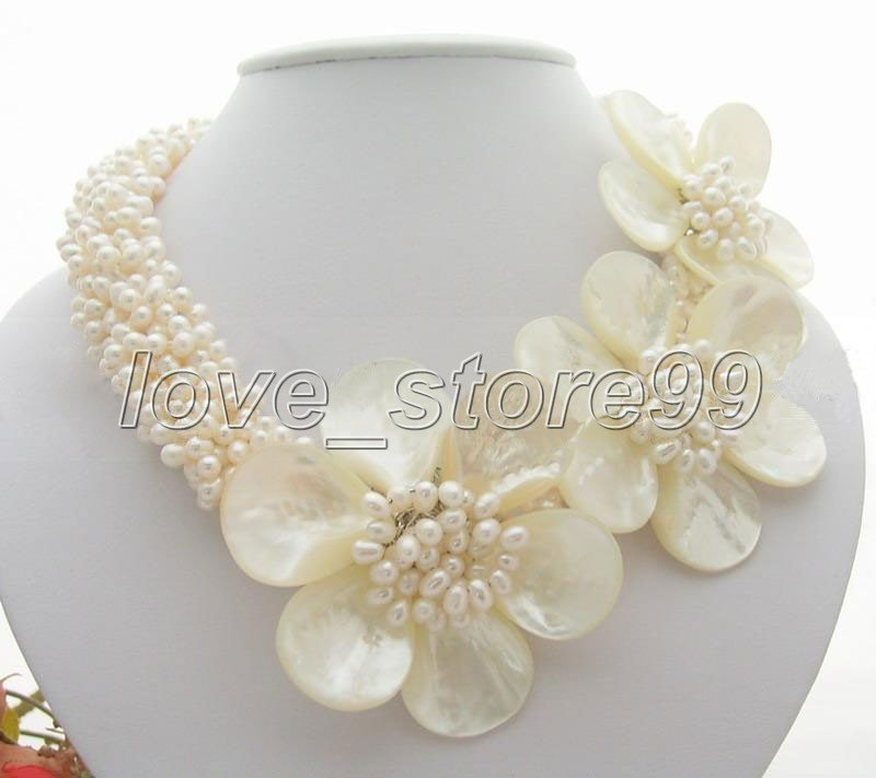 Lovely! 6 strands Fresh Water Pearl Shell Flower Necklace