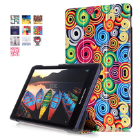 Ultra Slim Colorful Custer Stand PU Leather Protective Skin Magnetic Case Print Cover For Lenovo Tab3