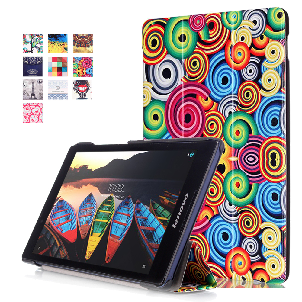 Ultra Slim Colorful Custer Stand PU Leather Protective Skin Magnetic Case Print Cover For Lenovo Tab3 8.0 TB3-850F 850M Tablet slim fit stand feature folio flip pu hybrid print case for lenovo tab 3 730f 730m 730x 7 inch