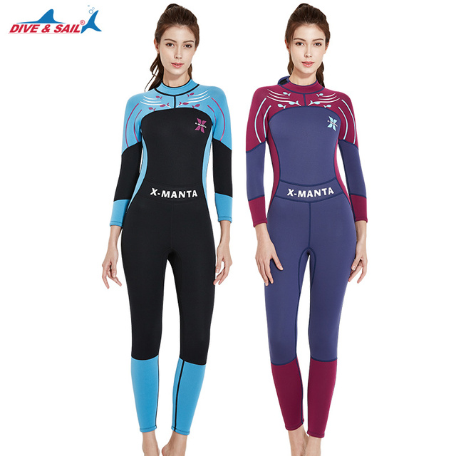a817fa0bf2e DIVE SAIL 2018 3MM Neoprene Wetsuit Women Diving Suit For Spearfishing Wet  Suit For Swimming Wetsuits Women Surfing Long Sleeve