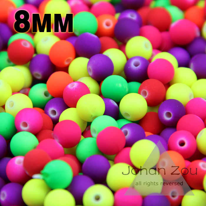 JHNBY Top kwaliteit 100PCs Gemengde Candy Color Acryl Rubber Kralen Neon Matte 8mm Ronde spacer losse kralen Fit sieraden Handgemaakte DIY