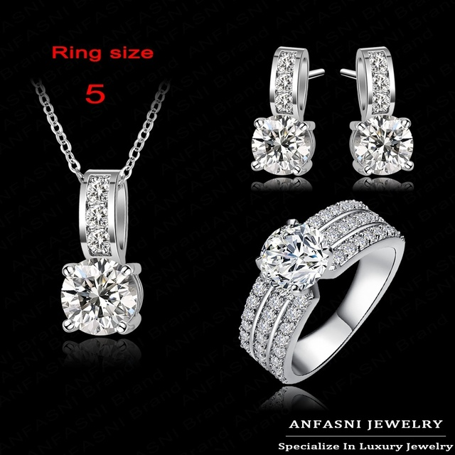 ANFASNI New Arrival Wedding Jewelry Set Silver Color Crubic Zircon Necklace/Earring/Ring Set Choose Size For Ring CST0022-B
