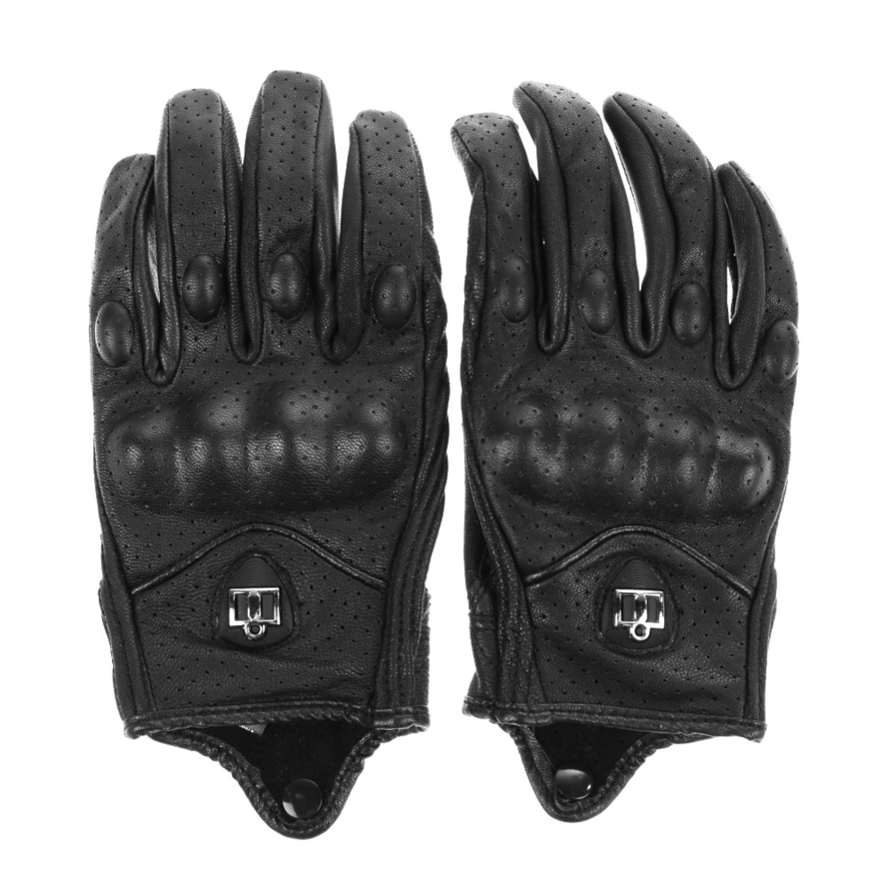 Motorcycle gloves thin - Men Motorcycle Gloves Outdoor Sports Full Finger Motorcycle Riding Protective Armor High Quality Black Short Leather