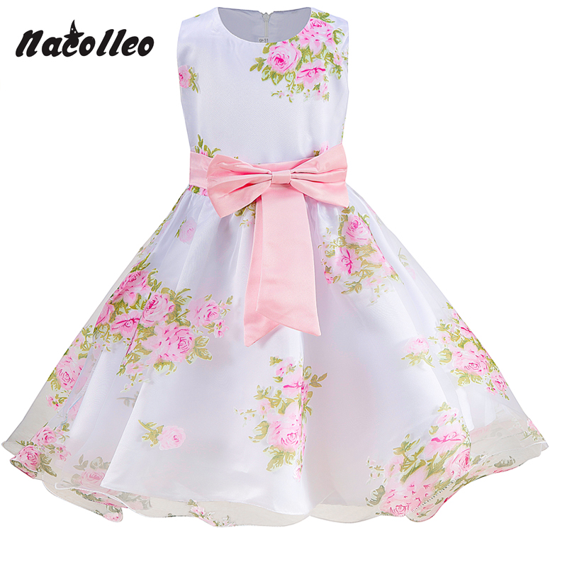 Girls Party Dress Brand Girl Sleeveless Flower Summer Prom Dress Baby Toddler Dress Wedding Girl Princess Dresses for 2-10 yrs kids girls bridesmaid wedding toddler baby girl princess dress sleeveless sequin flower prom party ball gown formal party xd24 c