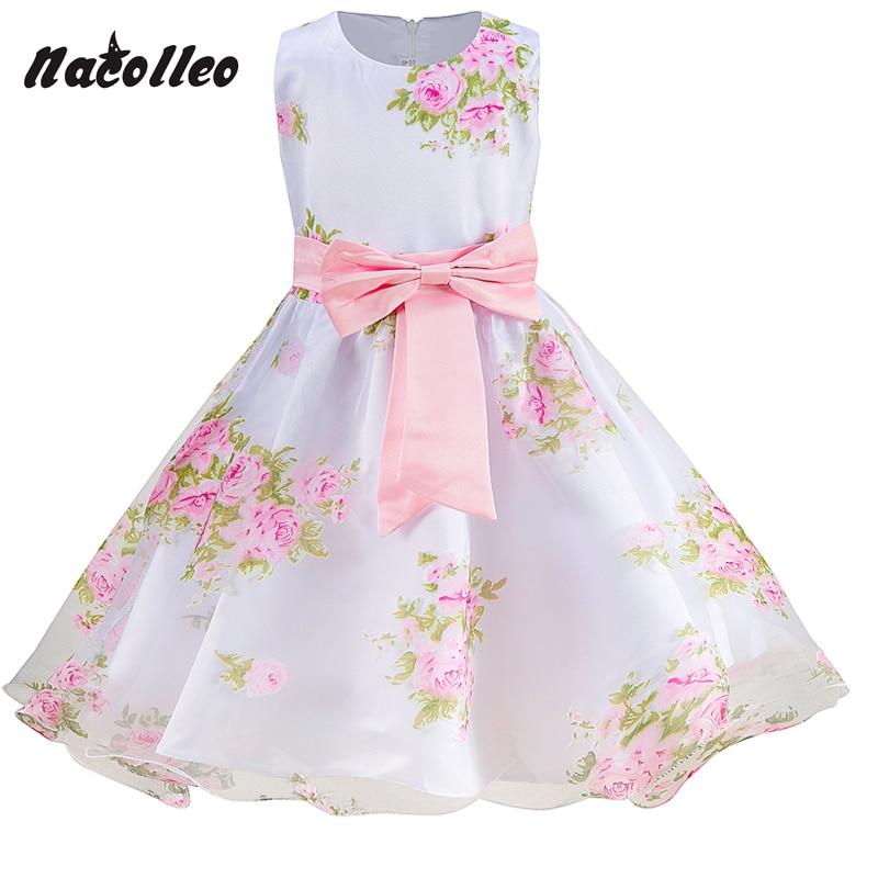 Girls Party Dress Brand Girl Sleeveless Flower Summer Prom Dress Baby Toddler Dress Wedding Girl Princess Dresses for 2-10 yrs