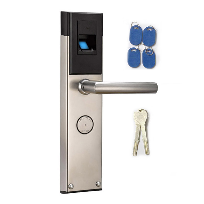 biometric door lock fingerprint 4 cards 2 keys electronic intelligent lock keyless latch with - Biometric Door Lock