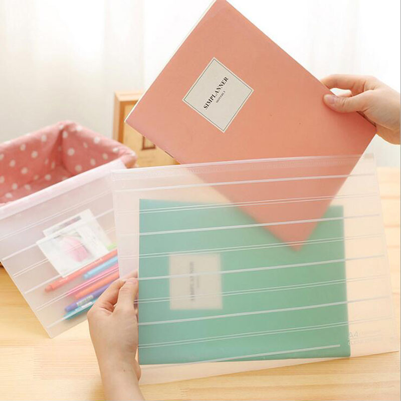 24pcs/lot Dull Polish Transparent PP A4 File Folder With Zipper Documents Bag Stationery Filing Production Wholesale G183